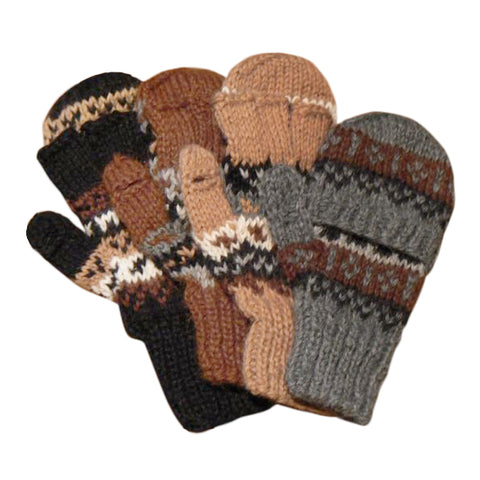 "Deluxe Hand Knit Hooded Kids Alpaca Gloves (""Glittens"") Glove IAT"