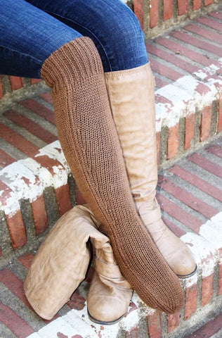 Deluxe Hand Knit Solid Color Long Alpaca Socks - Purely Alpaca