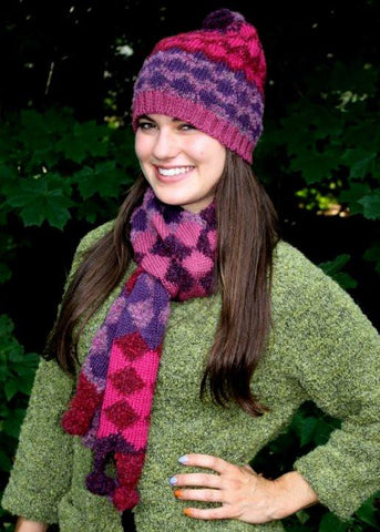 Diamond Stripe Alpaca Scarf - Purely Alpaca