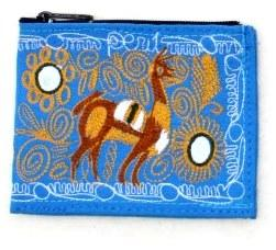 Embroidered Alpaca Pocket / Coin Purse Purses IAT Blue