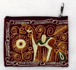 Embroidered Alpaca Pocket / Coin Purse Purses IAT Burgundy