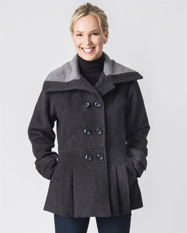 Fancy Peacoat Alpaca Dress Coat - Purely Alpaca