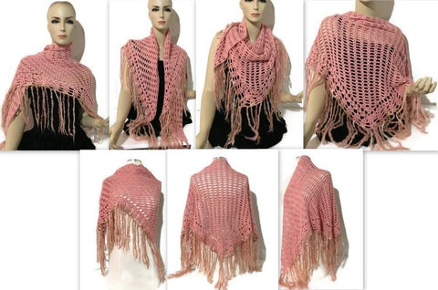 "Fiber art handmade woven shawl ""THE PINK"" - Purely Alpaca"