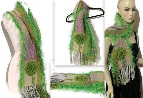 FIBER ART  WOVEN SCARF: THE GREEN - Purely Alpaca