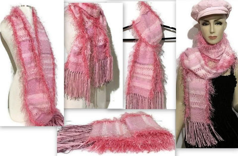FIBER ART WOVEN SCARF: THE PINK DropShip Andrea Wagner