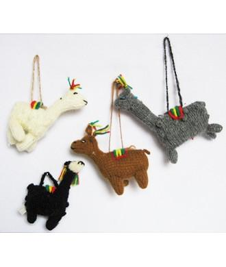 Hanging Alpaca Ornaments Holiday IAT Black