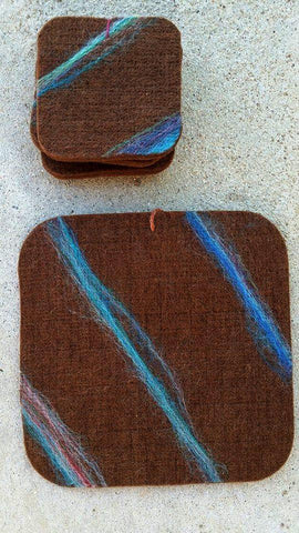 Heartfelt Alpaca Felt Drink Coasters Home Goods HRTFLT Brown-Blues