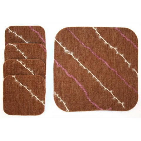 Heartfelt Alpaca Felt Drink Coasters Home Goods HRTFLT Brown-White-Pink