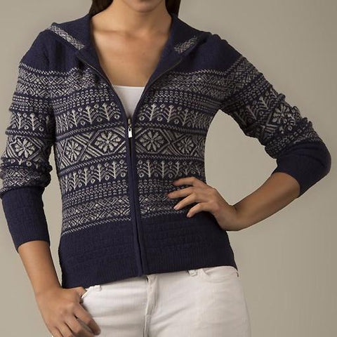 Jacquard FullZip Alpaca Cardigan with Hood Sweater LUX