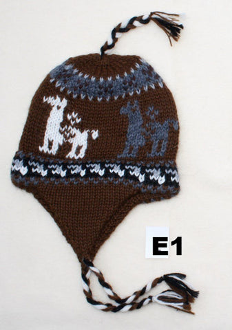 Kids Knit Alpaca Chullo Hat with Ear Flaps Hat IAT E