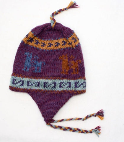 Knit alpaca Chullos with Braids - Colorful - Purely Alpaca