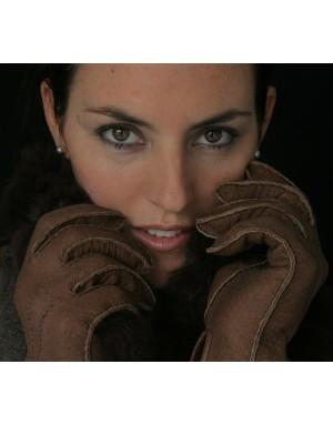 Lady's Classic Alpaca Lined Peccary Leather Gloves - Purely Alpaca