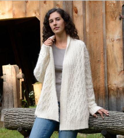 Lattice Cable Alpaca Cardigan