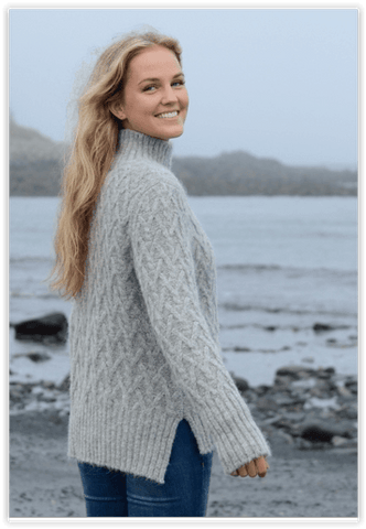Lattice Cable Mock Sweater - Purely Alpaca