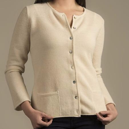 Links Crew Neck Alpaca Cardigan - Purely Alpaca