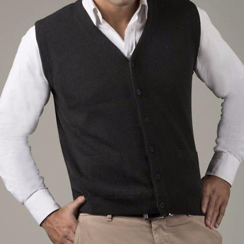 Links Men's Alpaca Button Vest - Purely Alpaca