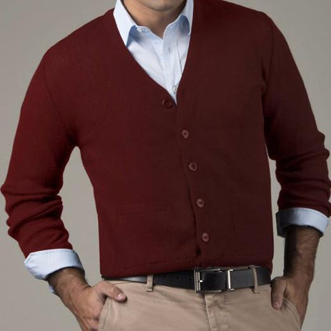 Links Men's V-Neck Alpaca Cardigan Sweater LUX Small Red