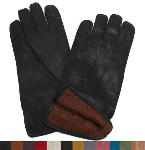Men's Classic Alpaca Lined Peccary Leather Gloves - Purely Alpaca