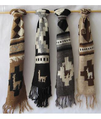 Patterned Knit Andean Alpaca Scarf Scarf IAT
