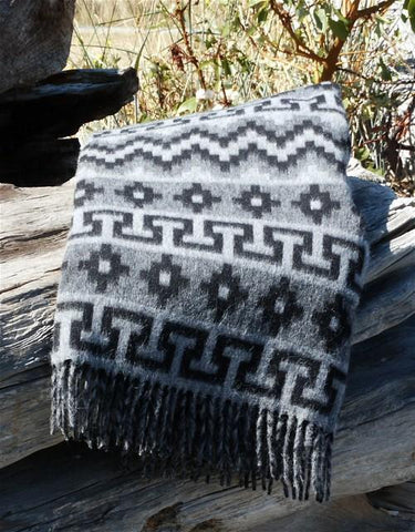 Peruvian Traditional Geometric Alpaca Throw Blanket IAT Silver