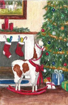 "Rocking ""Alpaca Horse"" Christmas Greeting Card Holiday ABS One Card"