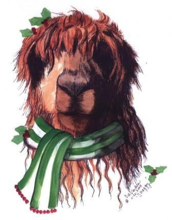 Shaggy Christmas Alpaca Greeting Card by Dee - Purely Alpaca