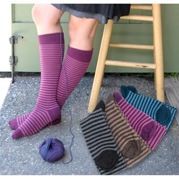 Striped Alpaca Knee Socks Socks RM Black Small
