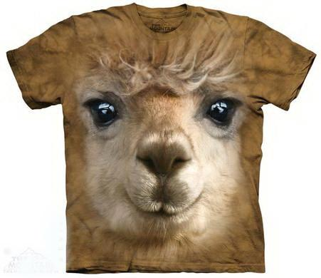 t-shirt: Big Alpaca Face T-Shirt MTN Small Brown