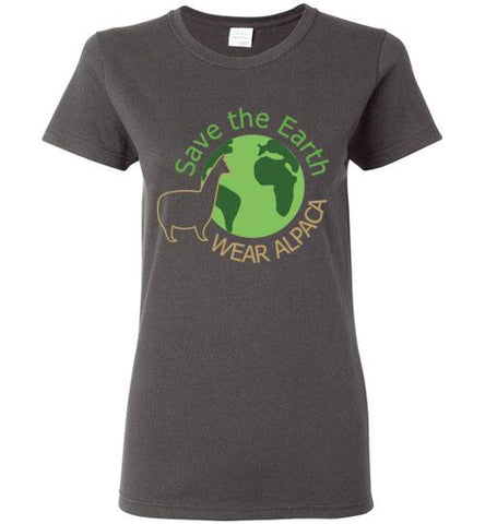 t-shirt: Save the Earth Wear Alpaca - Custom Ladies Cut TS Charcoal S