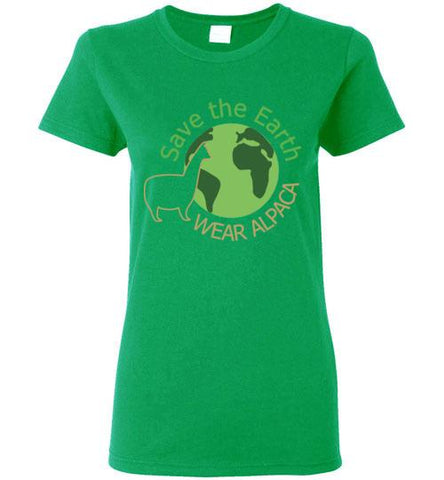 t-shirt: Save the Earth Wear Alpaca - Custom Ladies Cut TS Irish Green S