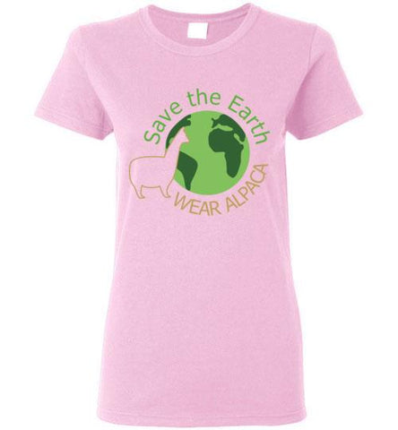 t-shirt: Save the Earth Wear Alpaca - Custom Ladies Cut TS Light Pink S