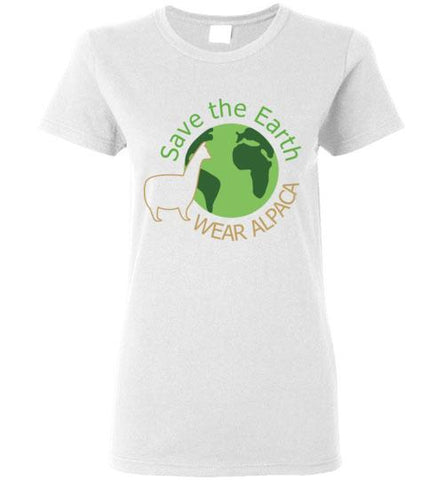 t-shirt: Save the Earth Wear Alpaca - Custom Ladies Cut TS White S