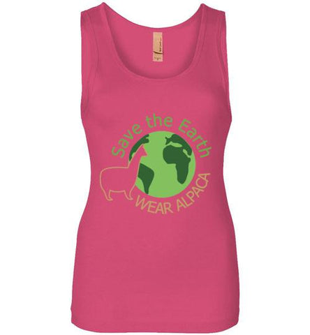 t-shirt: Save the Earth Wear Alpaca - Custom Order Jersey Tank TS Hot Pink S