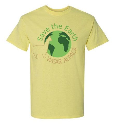 t-shirt: Save the Earth Wear Alpaca - Custom Order Short-Sleeve TS Cornsilk S