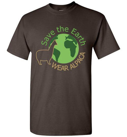 t-shirt: Save the Earth Wear Alpaca - Custom Order Short-Sleeve TS Dark Chocolate S