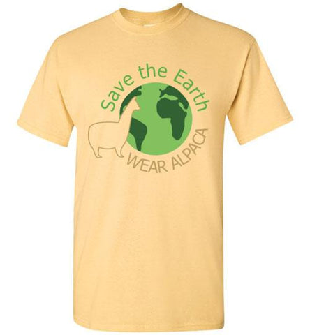 t-shirt: Save the Earth Wear Alpaca - Custom Order Short-Sleeve TS Yellow Haze S