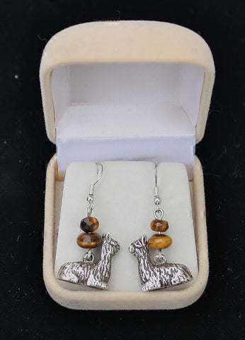 Tigers Eye Silver Alpaca Earrings - Purely Alpaca