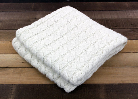 USA Grown Big Cable Alpaca Blanket Blankets NEAFP White