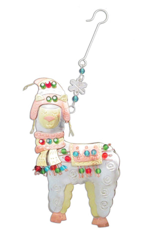 Whimsical Christmas Alpaca Ornament - Purely Alpaca