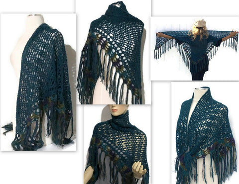 "Women handmade crochet teal Peruvian alpaca shawl ""THE GREEN"" DropShip Andrea Wagner"