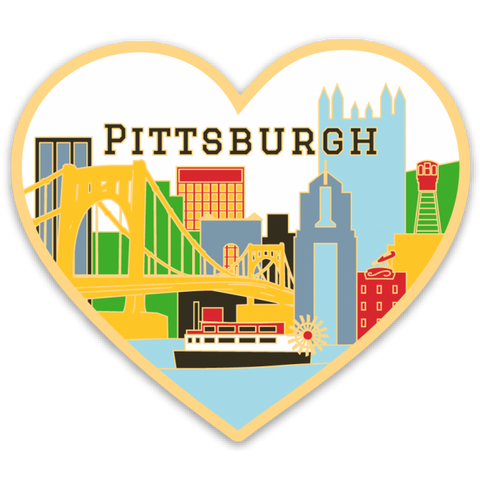 Pittsburgh Skyline Heart Sticker