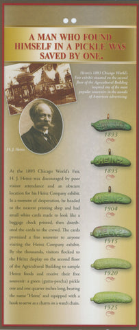 History of the Pickle Pin - Rack Card