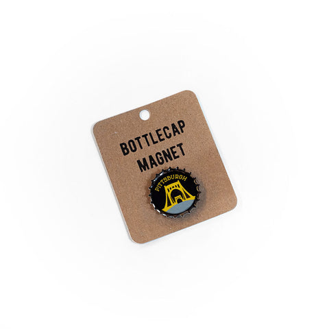 Black & Gold Pittsburgh Bridge Bottlecap Magnet