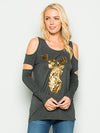 A Cutout Sleeve Reindeer Sequin Top -CHARCOAL