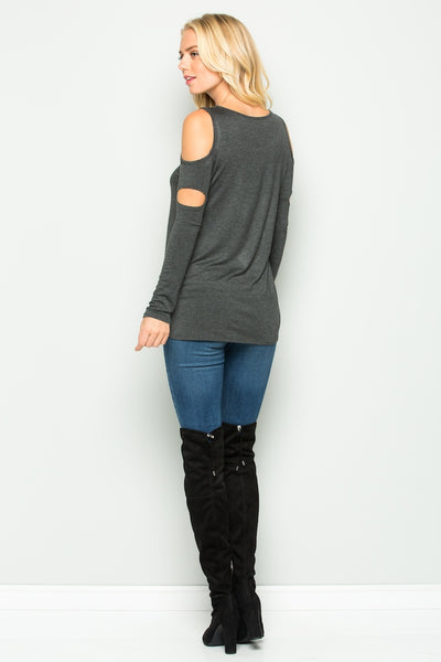 A Cutout Sleeve Reindeer Sequin Top -CHARCOAL - American Outdoor Woman