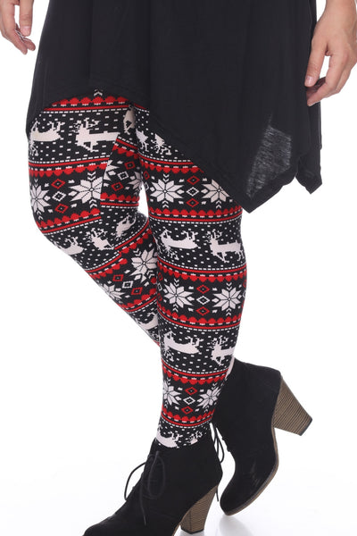 Black/White/Red Seasonal Leggings (Plus Size) - American Outdoor Woman