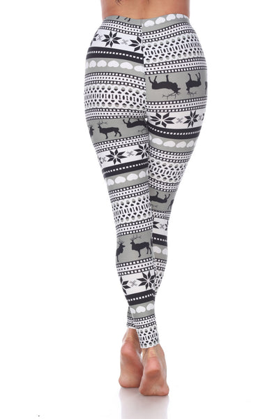 Grey/White Seasonal Leggings - American Outdoor Woman