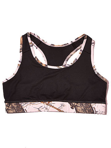 Mossy Oak Pink Camo Sports Bra Black - American Outdoor Woman