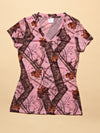 Mossy Oak Pink Camo T-Shirt V Neck - American Outdoor Woman