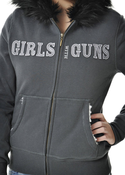 a GWG Fur Hoodie Charcoal - American Outdoor Woman